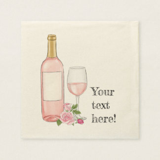 Rose wine watercolor design disposable napkins