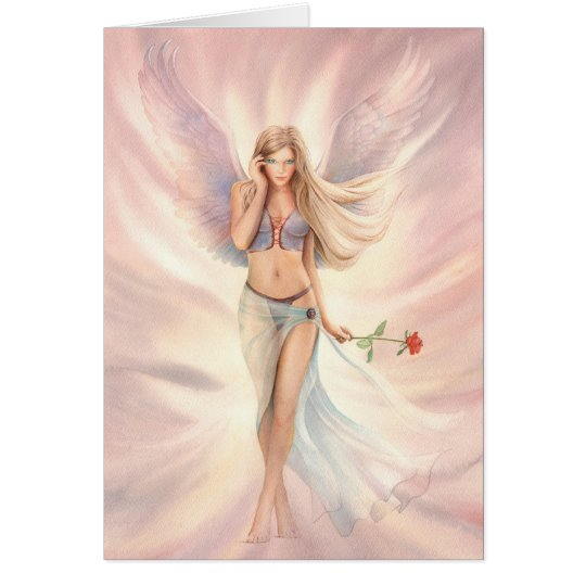 """""""Rose"""" Winged Fairy with a Red Rose Greeting Card"""
