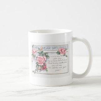 Rose Wishbone New Year's Basic White Mug