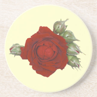 Rose with buds drink coaster