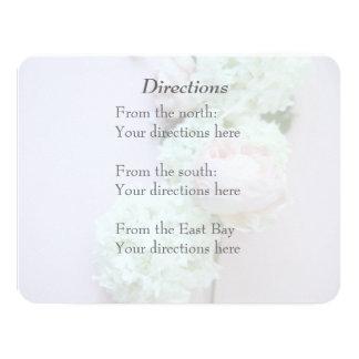 Rose with hydrangea fade wedding directions 11 cm x 14 cm invitation card
