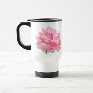 ROSE WITH STEM, BEAUTIFUL PINK FLOWER TRAVEL MUG