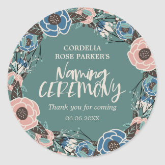 Rose Wreath   Thank You Naming Ceremony Round Sticker