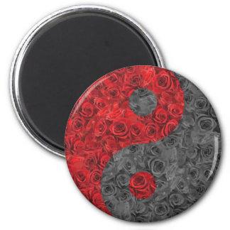 Rose Yin Yang 6 Cm Round Magnet