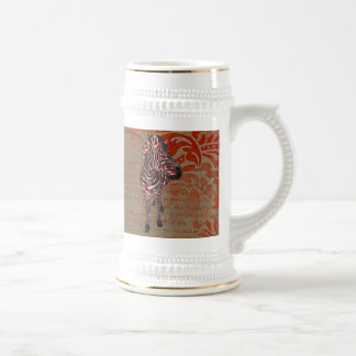 Rose Zebra Bronze Ornate Stein Mug