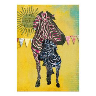 Rose Zebras Baby Boy Invitation
