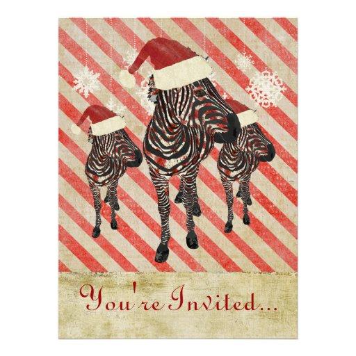 Rose Zebras Holiday Invitation