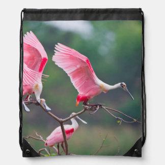 Roseate Spoonbills (Ajaia Ajaja) Landing Drawstring Bag