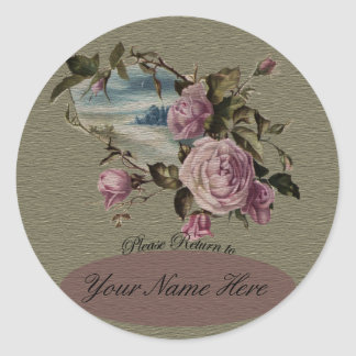Rosebud Bookplates Round Sticker