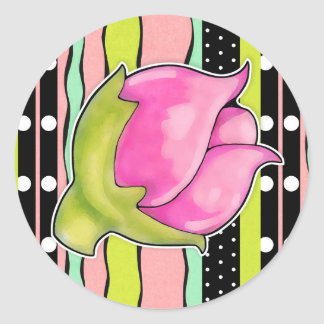 Rosebud Joy color Round Sticker