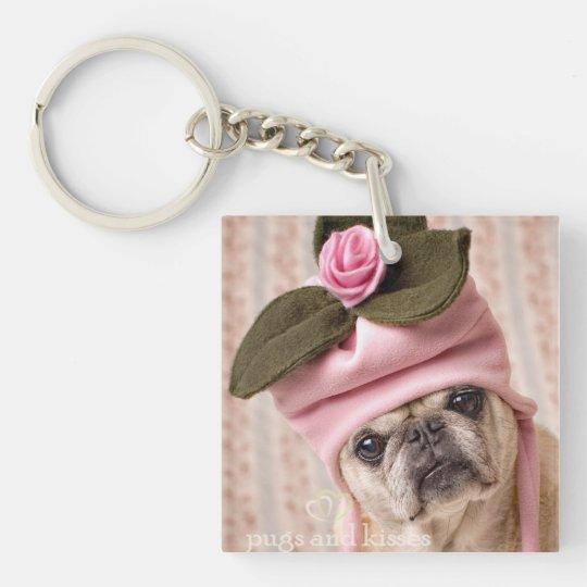 Rosebud Pug Key Chain