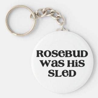 Rosebud Sled Basic Round Button Key Ring