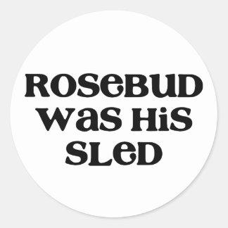 Rosebud Sled Round Sticker