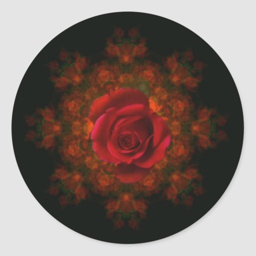 Rosebud Round Stickers