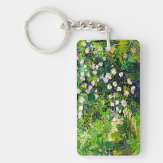 Rosebush in Blossom by Vincent Van Gogh Double-Sided Rectangular Acrylic Key Ring