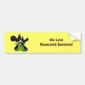 Rosecomb Black Bantam Family Car Bumper Sticker