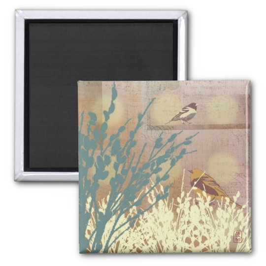 Rosegold Pussy Willow Bird Design Magnet