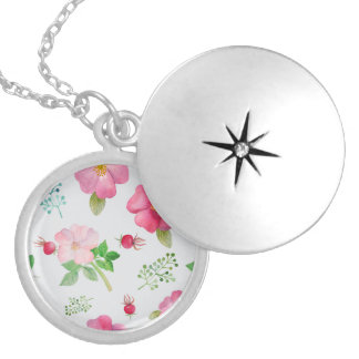 Rosehip Garden Floral Pattern Locket Necklace