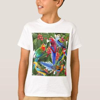 Rosella Parrots in Fig Tree Kids T-Shirt