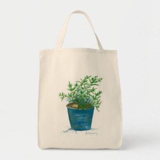 Rosemary Herb Plant Garden Watercolor Painting Grocery Tote Bag