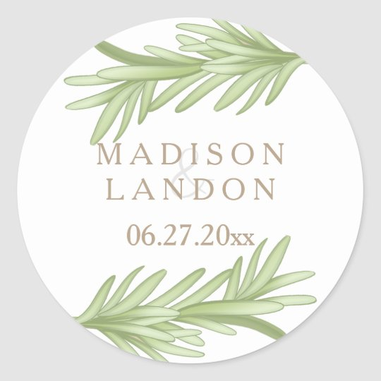 Rosemary Sprigs Herbal Wedding Names Classic Round Sticker