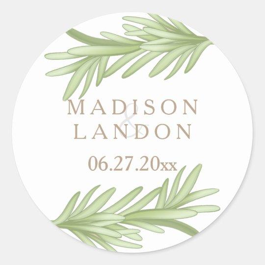 Rosemary Sprigs Herbal Wedding Names Round Sticker