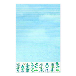 Rosemary Thyme Bee Watercolor Herbs Blue Lined Stationery