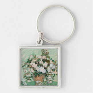 Roses, 1890 (oil on canvas) Silver-Colored square key ring