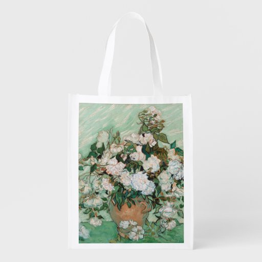 Roses, 1890 (oil on canvas) grocery bag