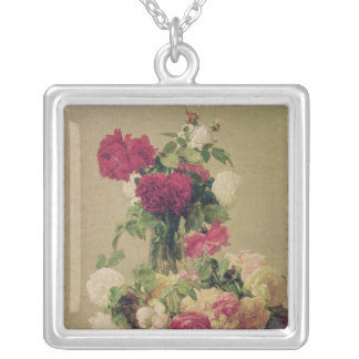 Roses, 1891 silver plated necklace