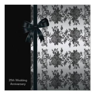 Roses 25th Wedding Anniversary Party 13 Cm X 13 Cm Square Invitation Card