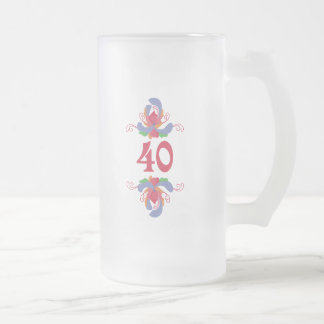 Roses 40 frosted glass mug