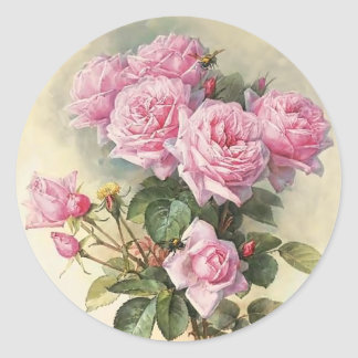 Roses and Bumblebees Paul de Longpre Fine Art Classic Round Sticker