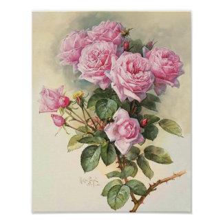 Roses and Bumblebees Paul de Longpre Fine Art Poster