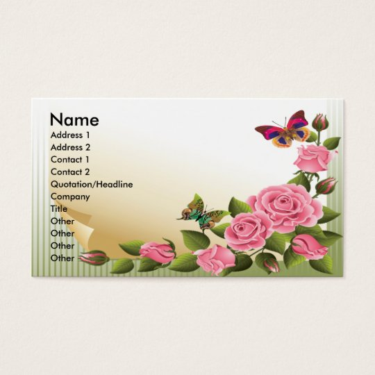 ROSES AND BUTTERFLIES BUSINESS CARDS