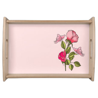 roses and butterflies serving tray