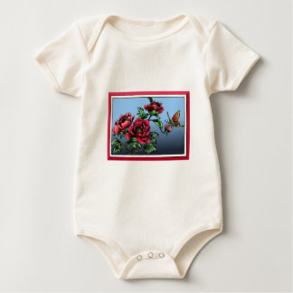 Roses and butterfly baby bodysuit