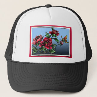 Roses and butterfly trucker hat