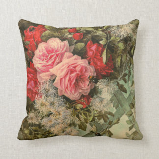 Roses and Clematis on a Trellis American MoJo Pill Throw Pillow