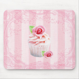 Roses and Cupcakes Pink Frosting Mousepad