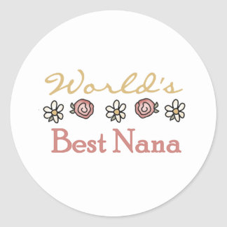 Roses and Daisies World's Best Nana Classic Round Sticker