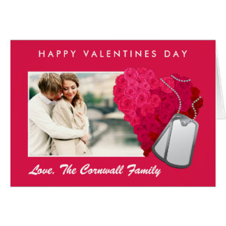 Roses and Dog Tags Valentines Day Card