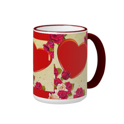 Roses and Heart Frame Add Your Photo Coffee Mugs