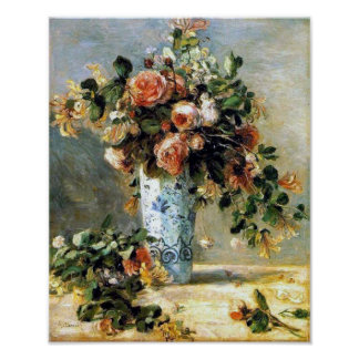 Roses and Jasmine in a Delft Vase by Renoir Print