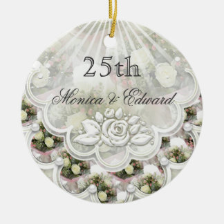 Roses and laces 25th Wedding Anniversary ornament