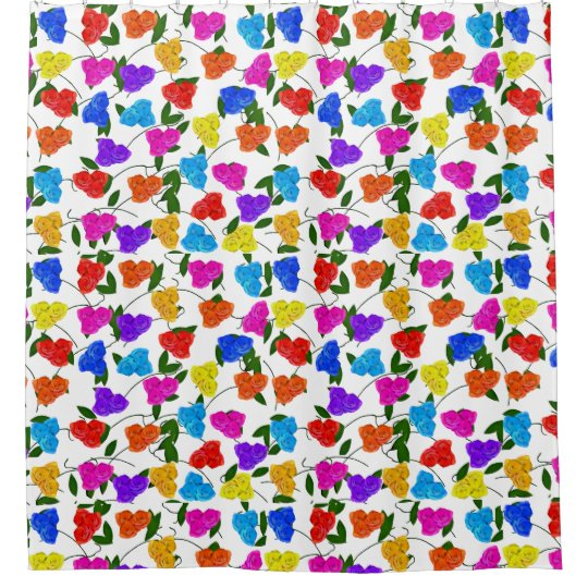 Roses and Leaves Shower Curtain