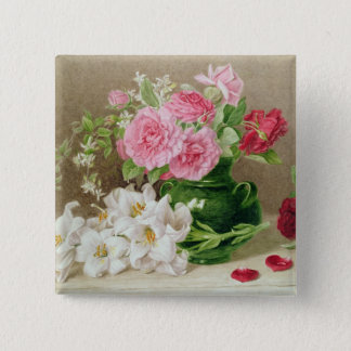 Roses and Lilies 15 Cm Square Badge