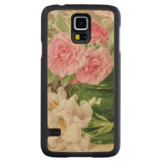 Roses and Lilies Carved Maple Galaxy S5 Case