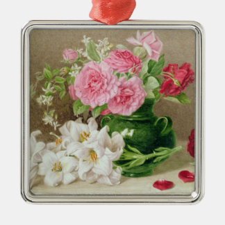 Roses and Lilies Christmas Ornament