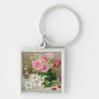 Roses and Lilies Silver-Colored Square Key Ring
